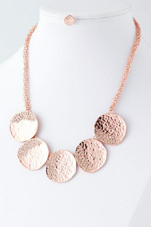 The Perfect Pear Downtown Lodi Rose gold necklace and earring set only $18 00