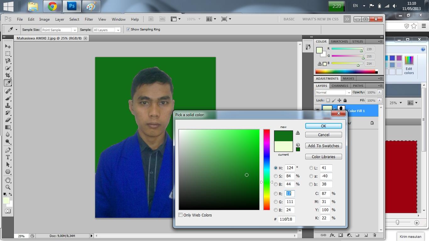 Cara merubah warna background pas foto dengan photoshop cs4 4
