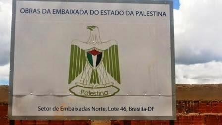 Placa da obra da sede da embaixada da Palestina