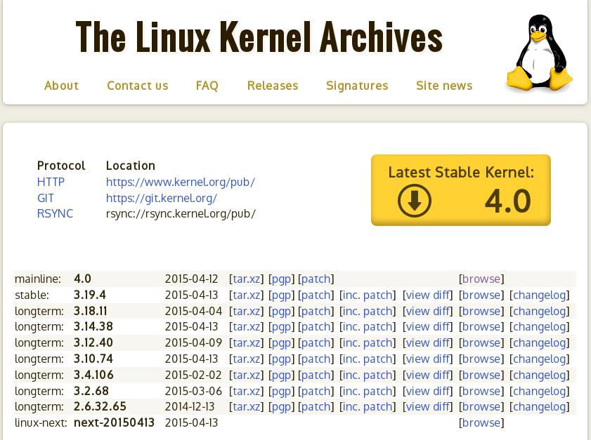 screenshot halaman kernel.org