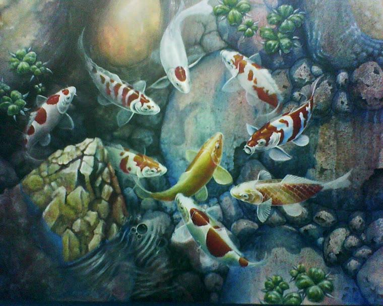 menerima pesanan lukisan ikan koi, arwana.