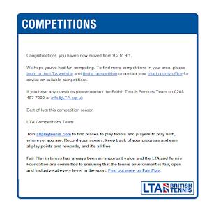 イギリスジュニアテニス大会 英国テニス協会(LTA)からのお知らせメール
