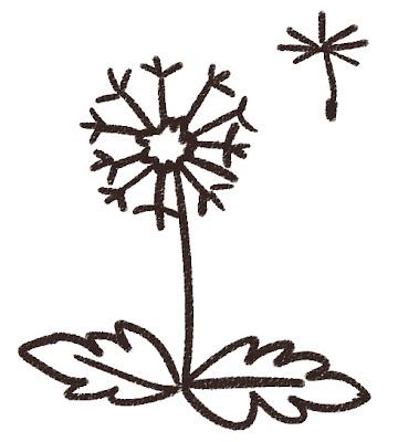 わたぼうしのイラスト(花) モノクロ線画