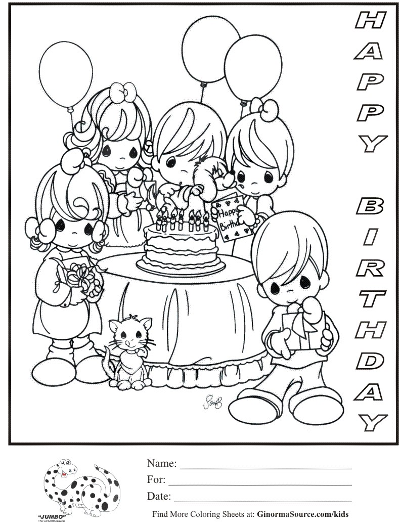 Monster image with happy birthday coloring pages printable