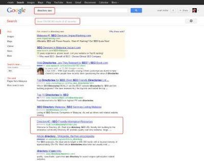 Directory4E kedudukan di Google ikut kata kunci