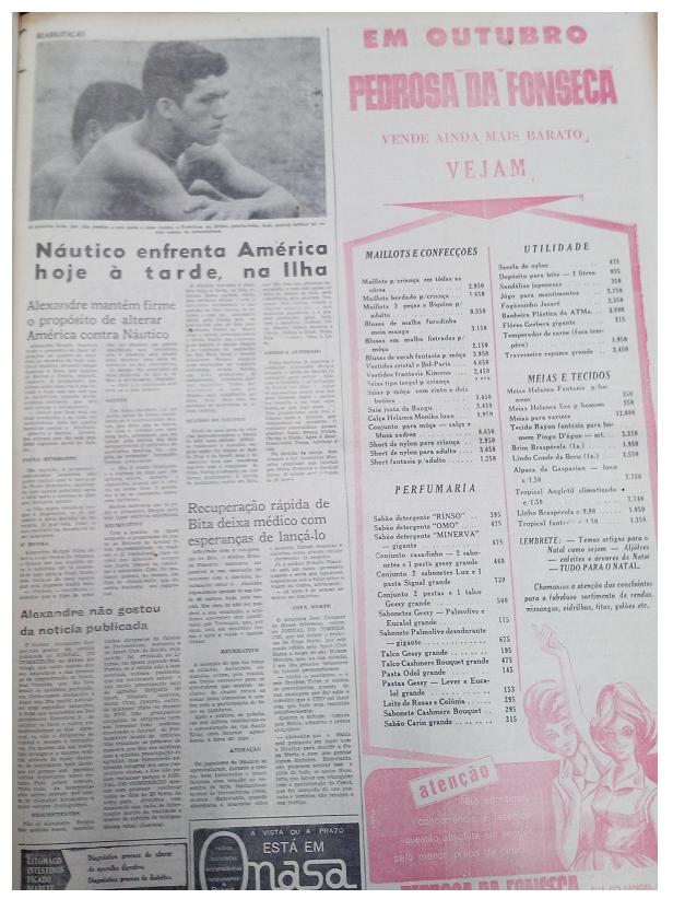 MEMÓRIAS ESMERALDINAS: América 1x1 Náutico em outubro de 1965