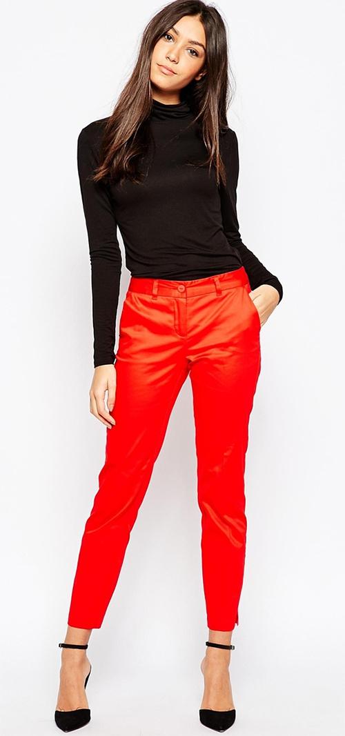 Pantalon coupe droite rouge Vero Moda