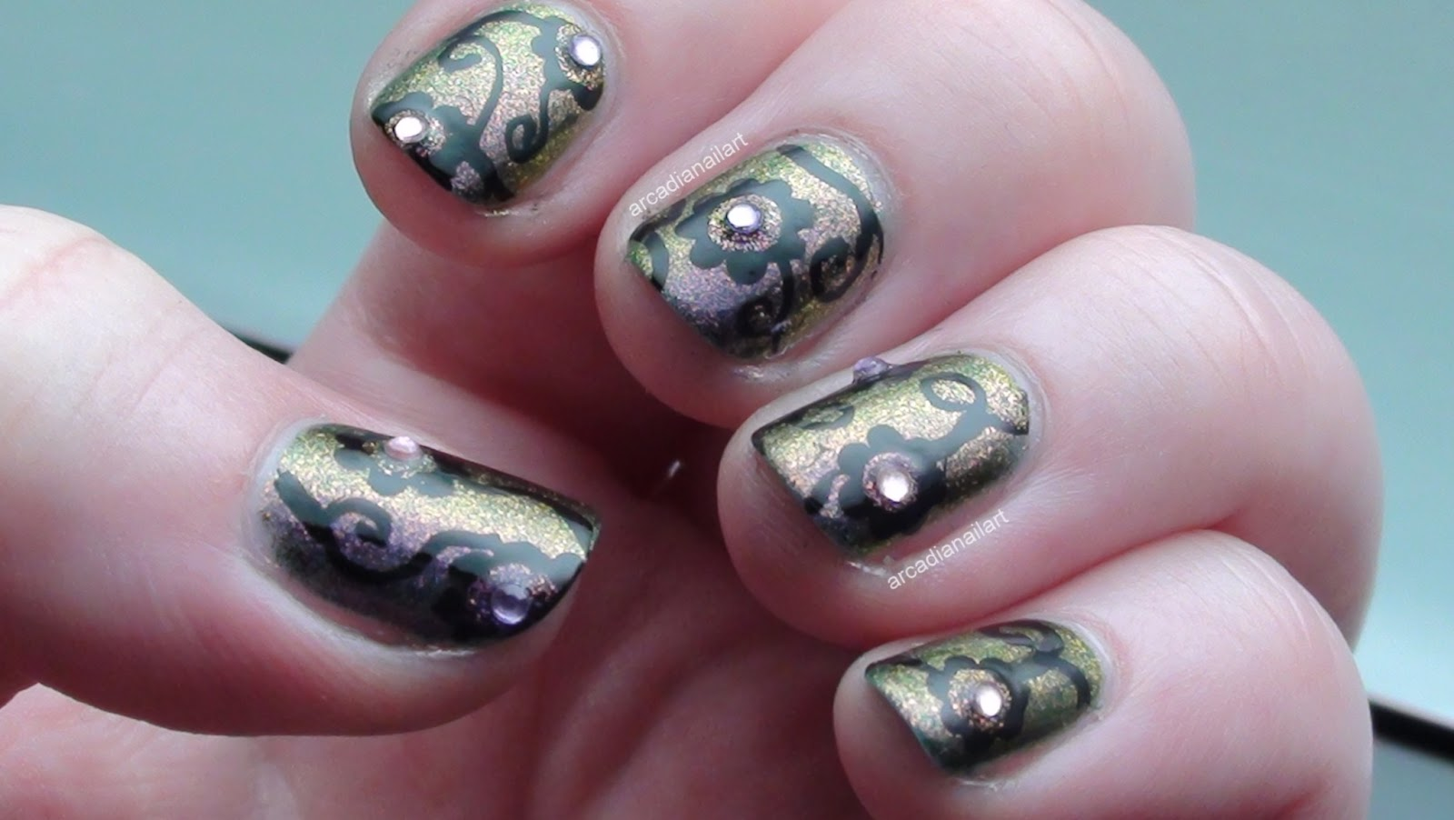 Arcadianailart From The Archive Floral Damask Nails