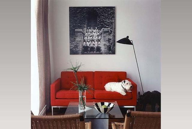 Decoração de sala pequena com sofá vermelho e mesa de centro de vidro