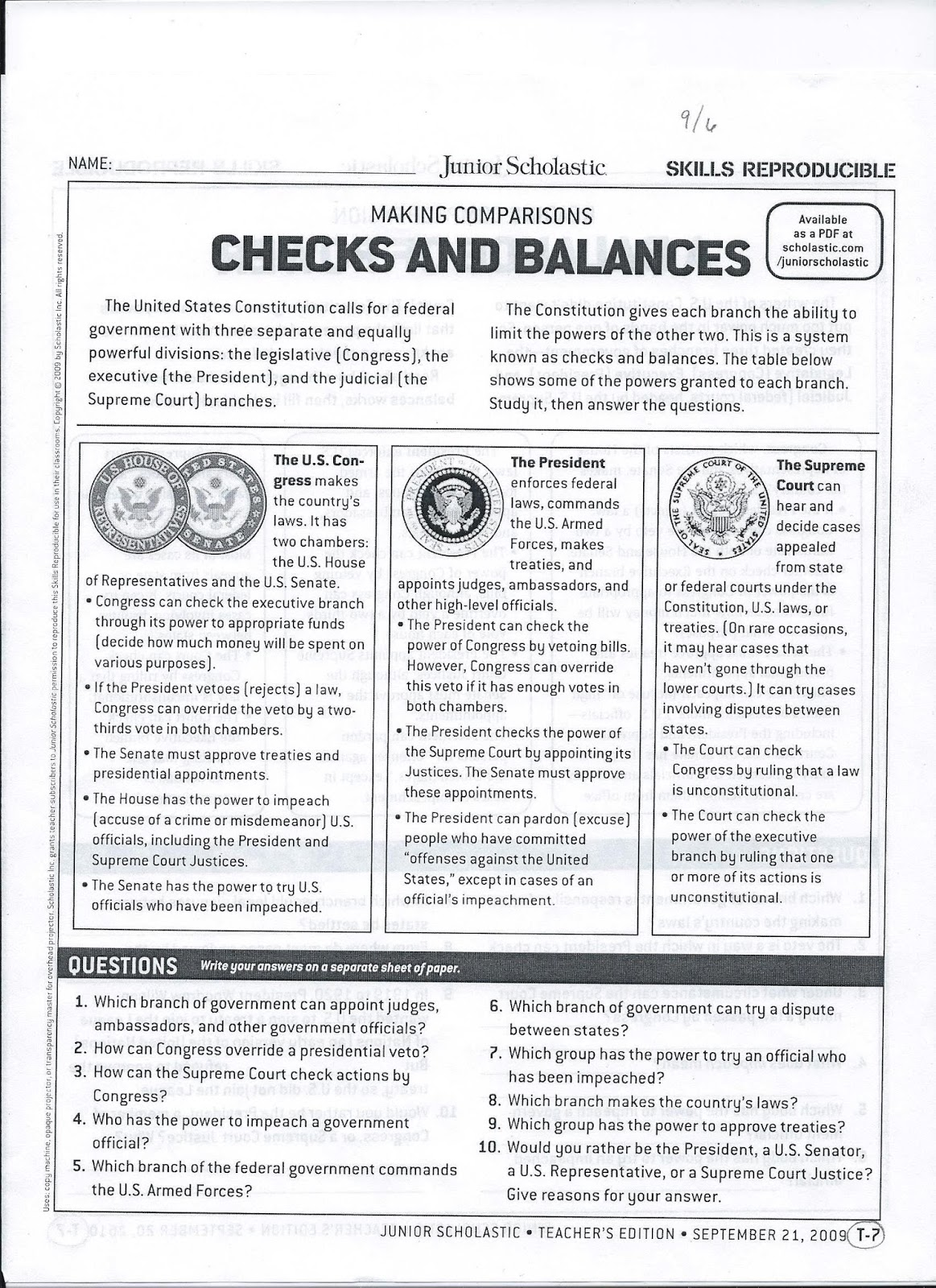 Printables Checks And Balances Worksheet gms 6th grade social studies checks and balances check out question ten students had to decide who they would rather be give three reasons why chose that one you have picked