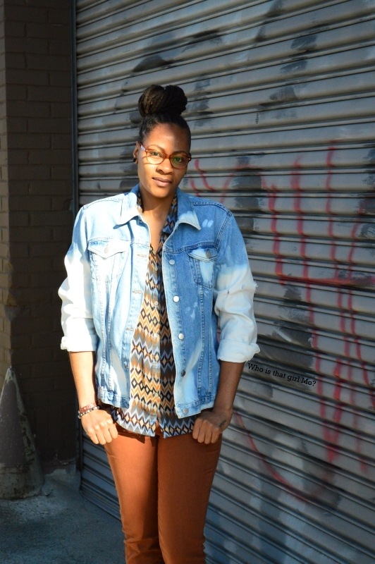 DIY bleached denim jacket pose 1 {who is that girl mo?}