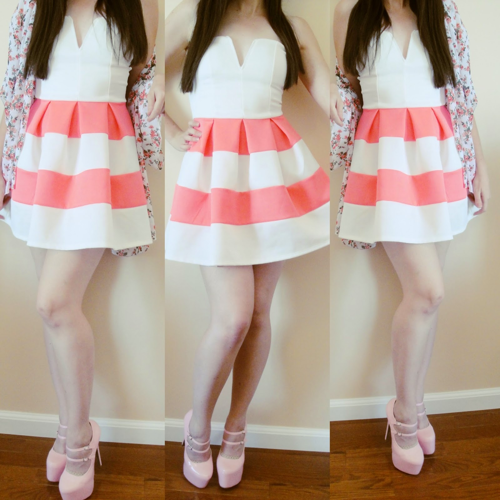 Pink and white striped skater dress