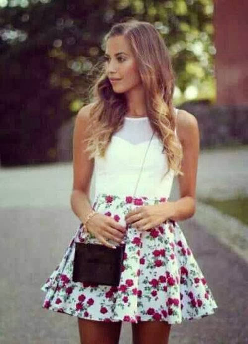 Stylish Flower Patterned Mini Skirt with Charming White Blouse, Long Mini Bag and Accessories, Spring and Summer Style