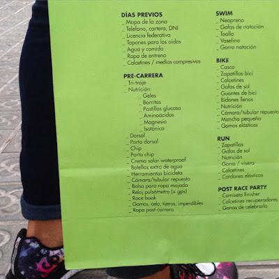 que llevo a mi primer ironman triatlon checklist