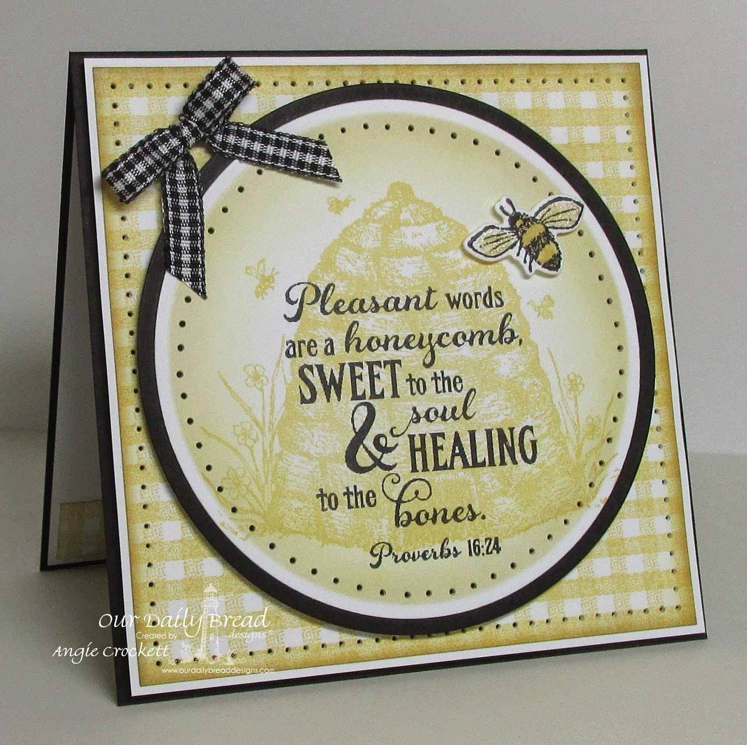 ODBD Gingham Background, Bee Happy, ODBD Custom Zinnia and Leaves Dies, Card Designer Angie Crockett