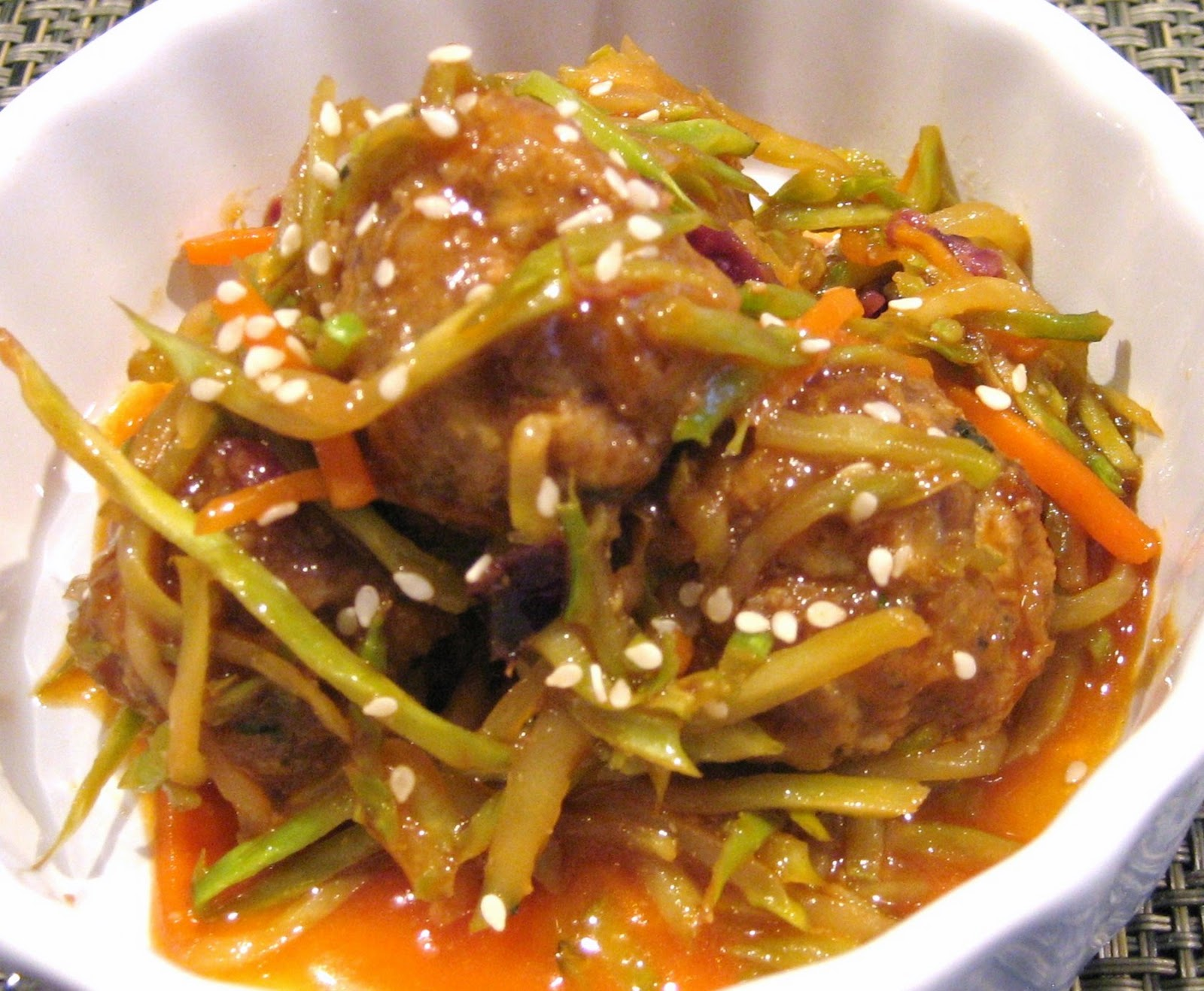 ... : Meatballs in a Sweet 'n Spicy Asian Sauce with Warm Asian Slaw