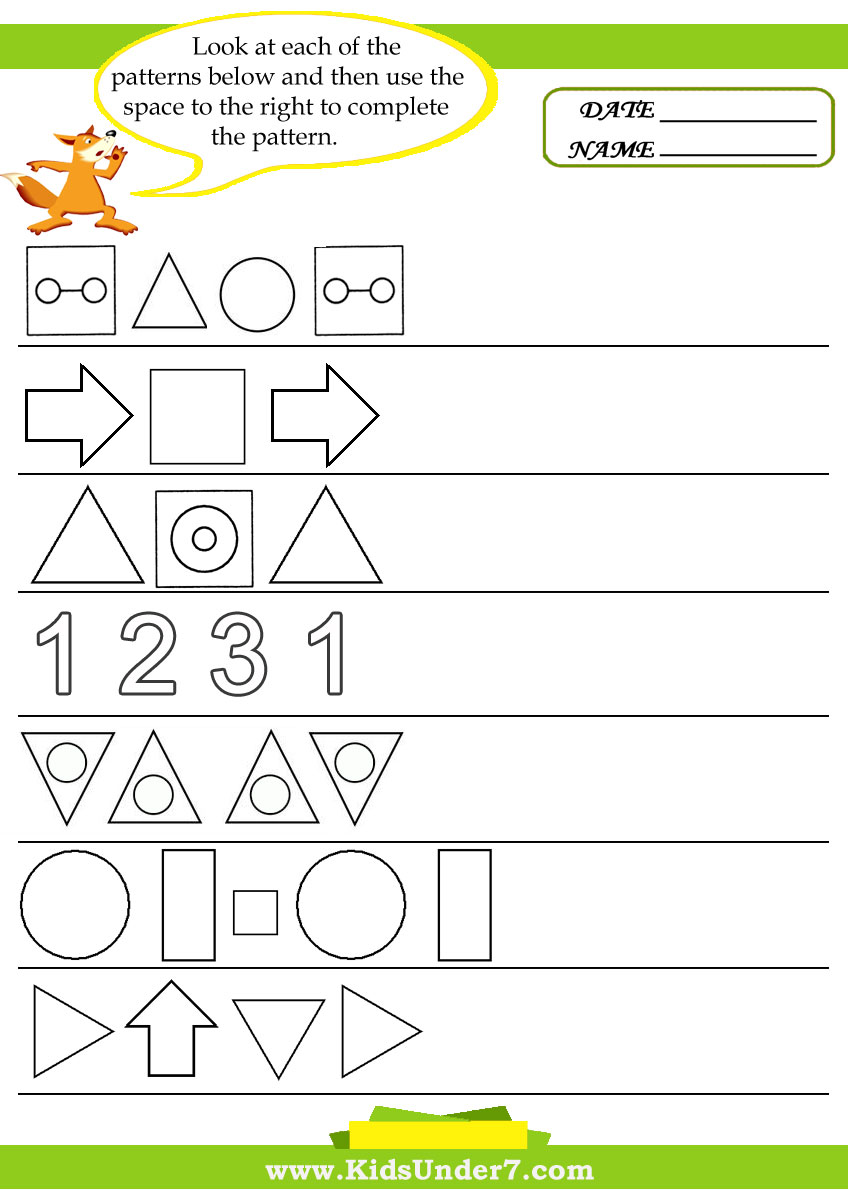 Free Preschool &- Kindergarten Pattern Worksheets - Printable | K5 ...