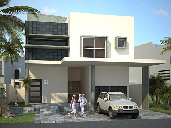 Fachada contemporánea de casa con cochera para tres autos