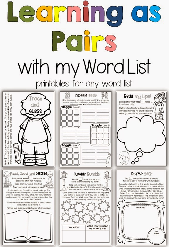 Learning in Pairs Printables for any Word List Clever Classroom
