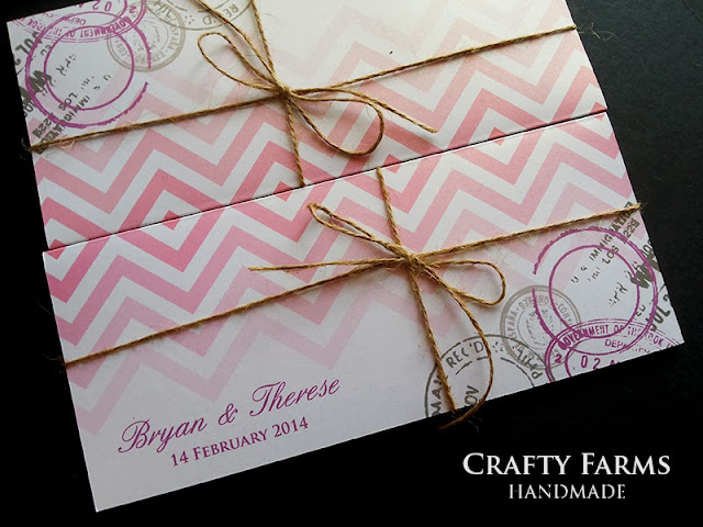 budget pink gradient chevron boarding pass invitation for destination wedding