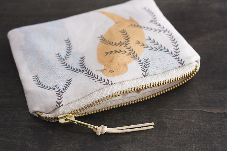 Bird and Leaves Pouch