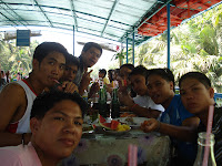 Enjoying buffet at Loboc River Bohol