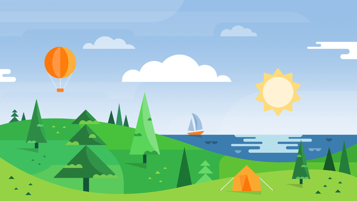 A Google-inspired wallpaper showing a coastal landscape