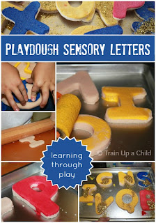 Painting Playdough Letters