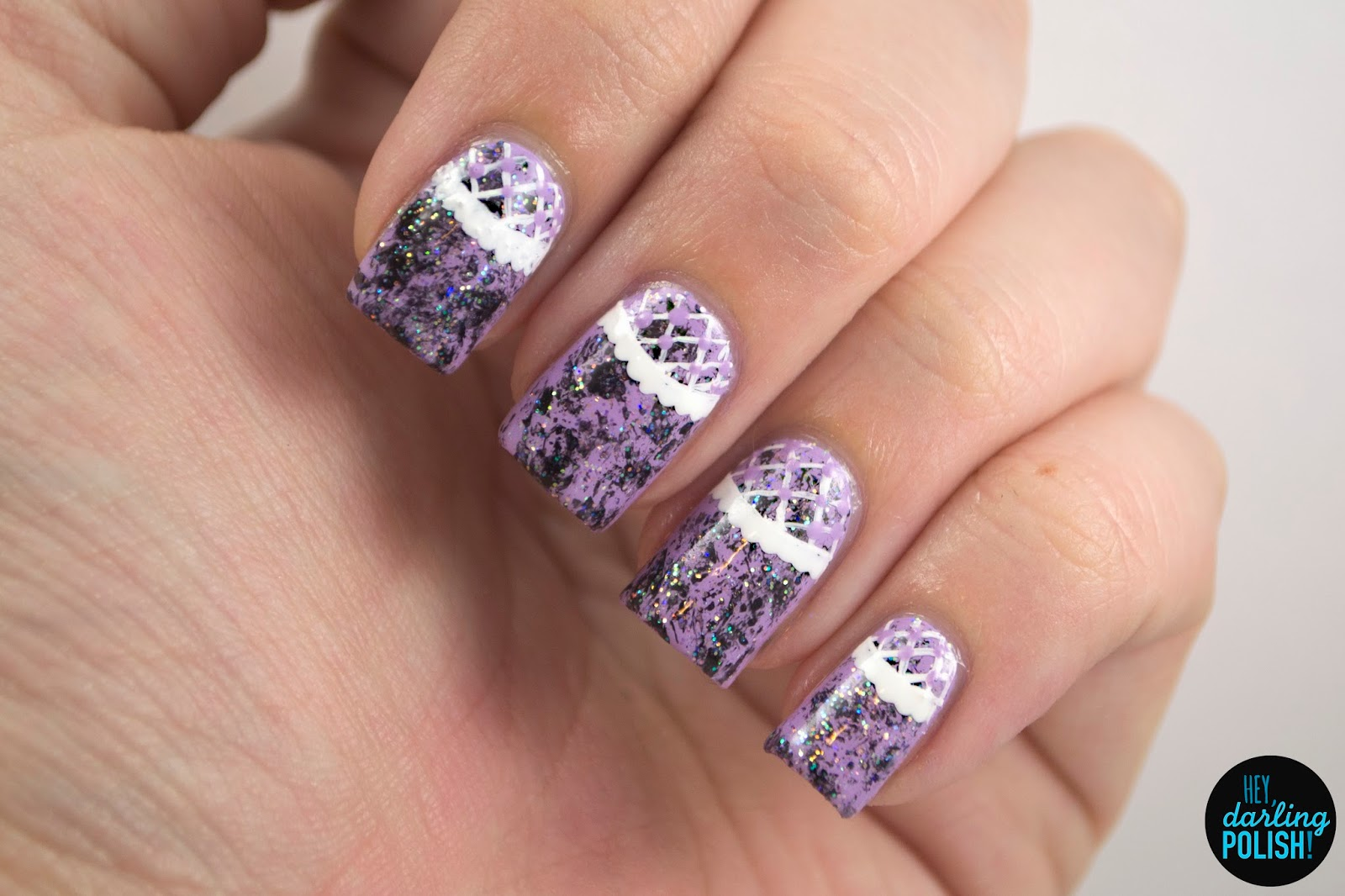 nails, nail art, nail polish, polish, lilac, white, lace, black, sparkle, golden oldie thursdays, hey darling polish
