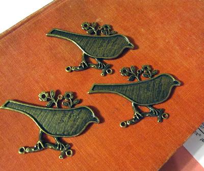 Brass Bird Bezel Pendants