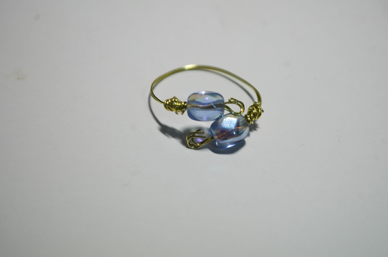 tutorial blue bead gold wire jewellery easy simple quick