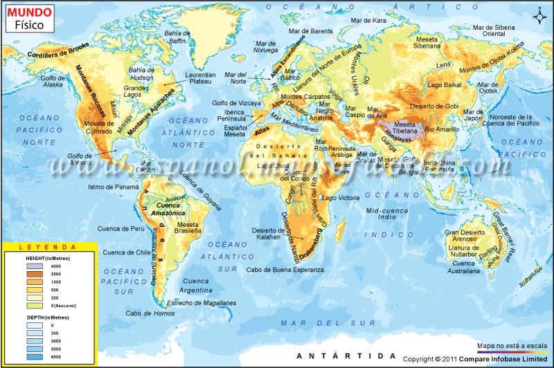 Geografía - Mapa con los mares y golfos del mundo