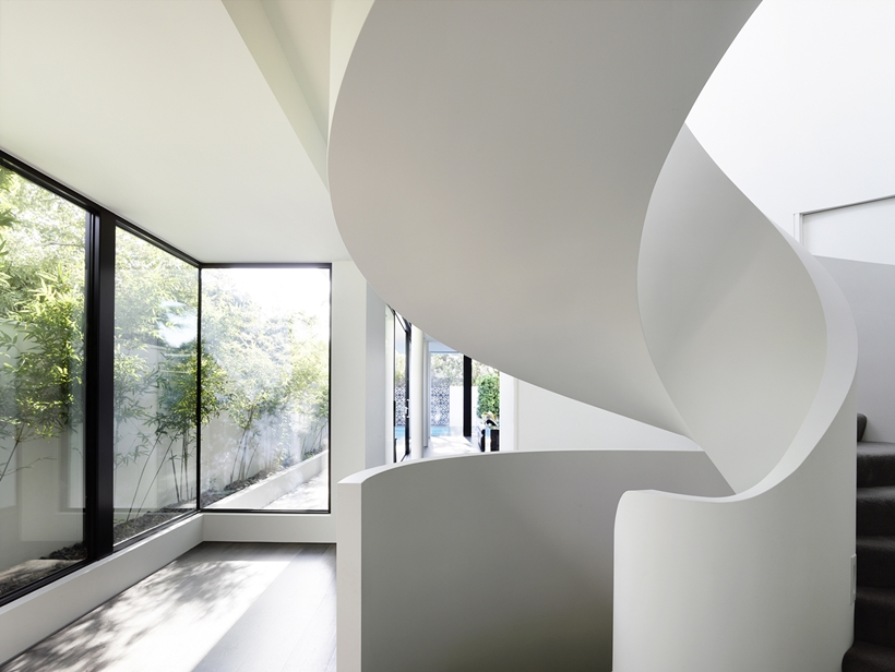 Walls and stairs of Perfect Modern Townhouse by Martin Friedrich Architects