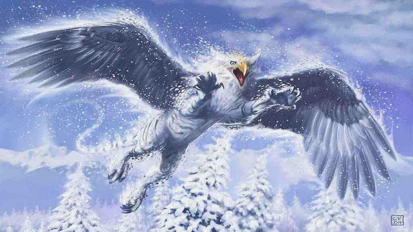 белый грифон лес зима рисунок фэнтези