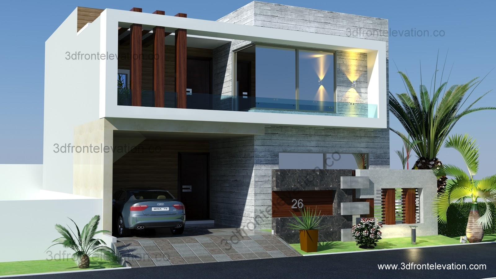 Front Elevation Of 3 Marla House : D front elevation marla house plan
