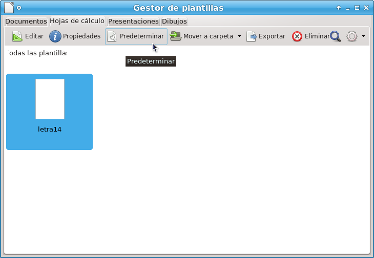 Gestor de plantillas LibreOffice 4.0 Mis plantillas