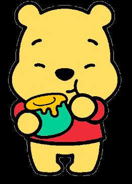 Desenho Pooh baby comendo mel fofinho colorido com fundo transparente Turma do Pooh