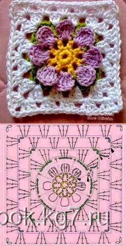 Manta cubrecama con grannys florales en 3D - con esquemas