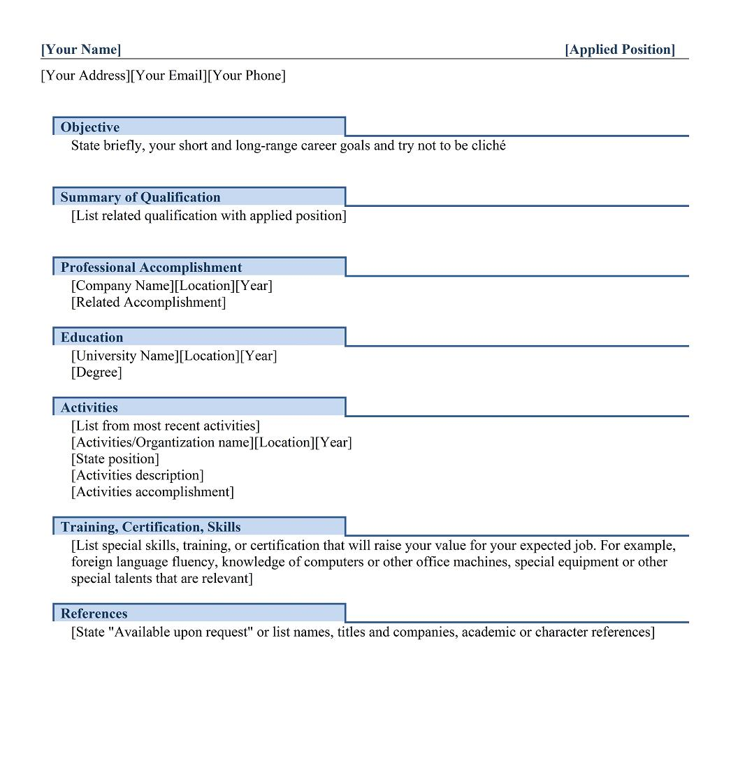 freshers functional resume template - Skills And Accomplishments Resume Examples