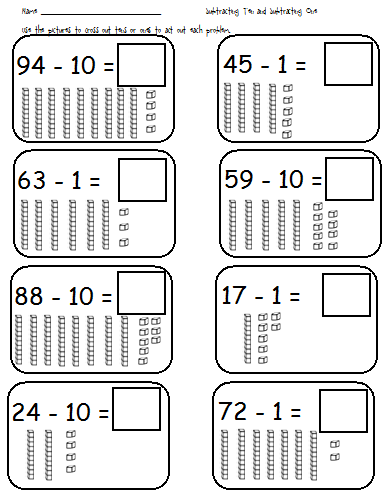 Subtracting 10 Worksheet. Subtraction Worksheets Dynamically ...