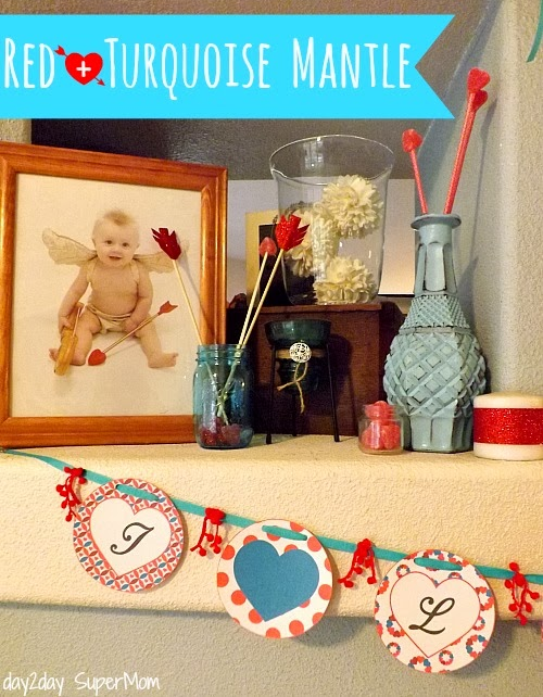 Red & Turquoise Valentine Mantle