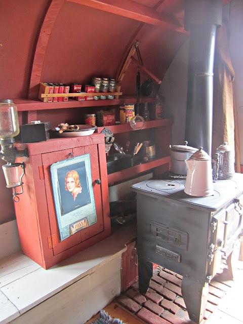Sheep wagon interior at the chuck wagon party