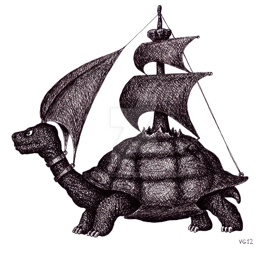 02-Sailing-Turtle-Vitaliy-Gonikman-Surreal-Black-and-White-Drawings-with-a-Message-www-designstack-co