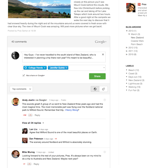 google+ comments for blogger
