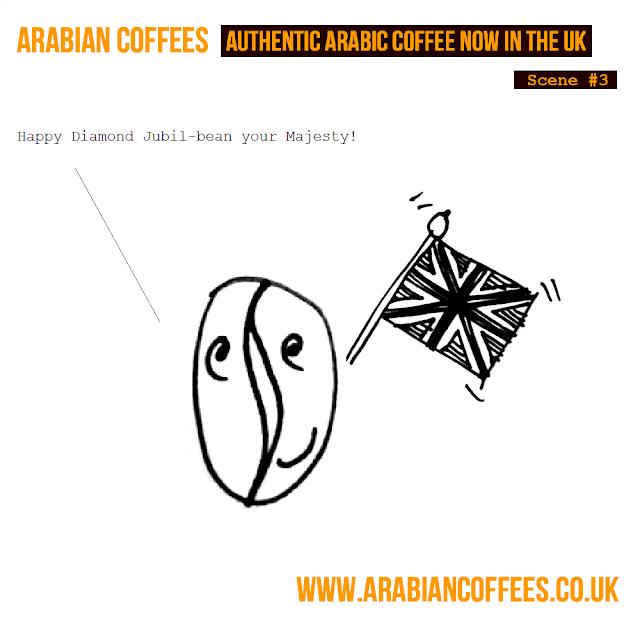 Arabian Coffees Cartoon, Happy Jubil-bean!