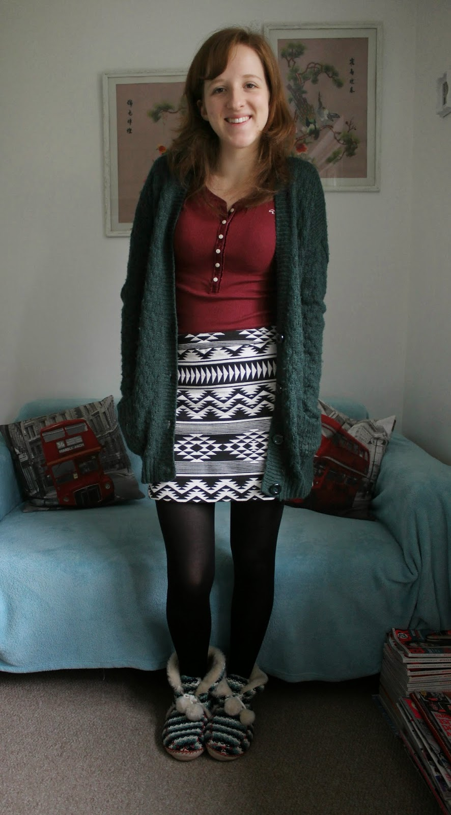 OOTD: Burgundy Top and Aztec Skirt aka Christmas Day Outfit