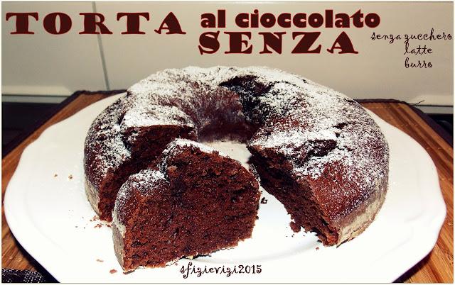 torta cioccolattosa con cioccolato fondente e dolcificante (senza burro, senza latte e senza zucchero)