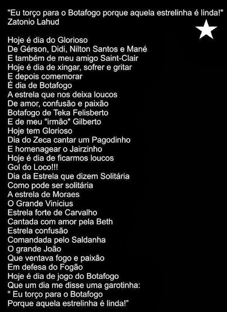 """""""Eu torço para o Botafogo orque aquela estrelinha é linda"""""""