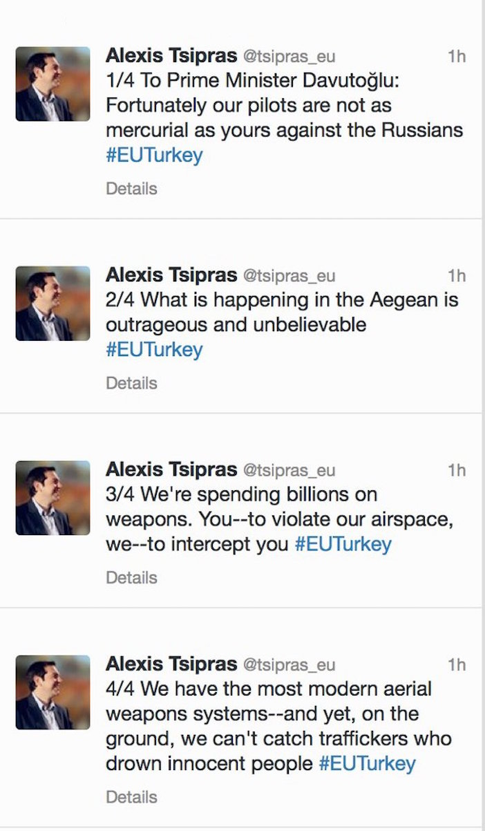 Greek Prime Minister Blasts Turkey on Twitter Over Russian Plane Downing - Turkey violated Greek airspace 2,244 times in 2014 alone - Tsipras tweet to Davutoglu