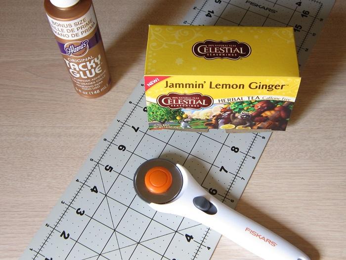 glue, cardboard, cutter
